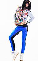 Утепленные стильные женские брюки синего цвета