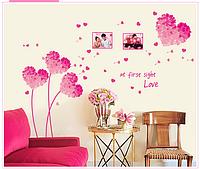"Наклейка на стену ""розовые сердечки"", наклейки на шкаф  96*125см (лист50*70см)"