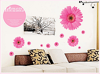 """Наклейка на стену, виниловые наклейки, стикеры """"розовые хризантемы"""" на прозрачной основе (лист 50*70см)"""