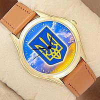 Часы мужские с Гербом Украины от Perfect, золотистый корпус
