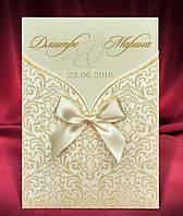 Изысканные свадебные приглашения цвета айвори с бантом, печать текста, запрошення на весілля