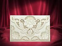 Красивые пригласительные на свадьбу в бежевом цвете, оригинальные свадебные приглашения, купить Киев