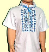 Вышиванка с коротким рукавом на мальчика 1-2 лет, рост 80-90 см