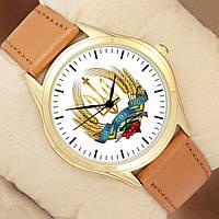 Часы - З нами Бог і Україна, золотистый корпус, коричневый ремешок