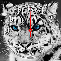 "Часы настенные  ""Белый тигр""  стеклянные"