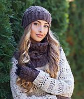 Комплект шапка с ниточным бубоном,шарф-хомут и перчатки в 6ти цветах 4152-75