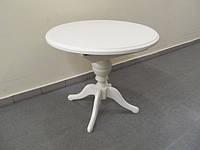Стол раскладной Анжелика ваниль, беж диаметр 90см раскладной