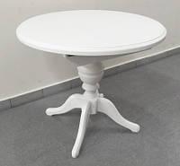 Стол раскладной Анжелика белый, диаметр 90см раскладной