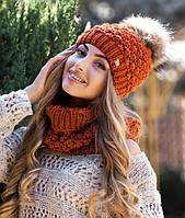 Комплект шапка с меховым бубоном и шарф-снуд в 4х цветах 4187-7