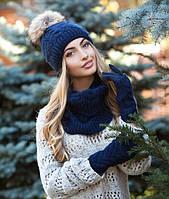 Комплект шапка с меховым бубоном, перчатки и шарф-снуд в 7ми цветах 4189-37