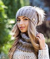 Комплект шапка с меховым бубоном и шарф-хомут в 8ми цветах 4253-7