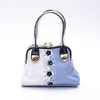 Стильная женская сумка из экокожи Velina Fabbiano 78652 белая с голубым
