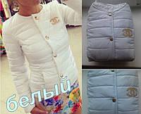 Куртка женская на синтепоне CHANEL белая , одежда дропшиппинг