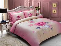 Постельное белье TAC мако-сатин Julia розовое евро размера