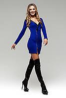 Мини-Платье с Вырезом и Красивым Декольте Синее S-XL