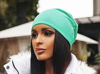 Шапка женская трикотажная мята , шапки интернет магазин