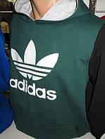 Толстовка мужская Adidas - зеленая с капюшоном