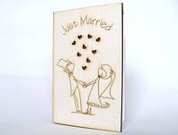 """Свадебные открытки ручной работы из дерева """"Влюбленные молодожены"""""""