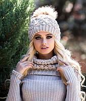 Зимний женский комплект «Ананас» (шапка и шарф-хомут)