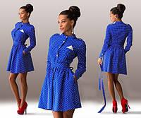 Женское джинсовое платье в горошек в расцветках Л875