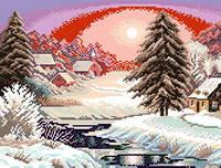 Схема на канве для вышивки крестом Зимний закат Ркан 3029
