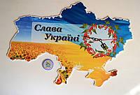 Часы Настенные Карта Украины с калиной
