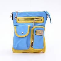 Патриотичный женский клатч A7166 из эко кожи сине-желтого цвета