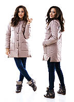 Куртка женская теплая с карманами - Бежевый