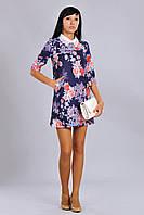 Стильное женское платье в цветочный принт с красивым ажурным воротником