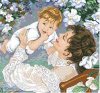 Схема на канве для вышивания крестом Радость материнства Ркан 3043