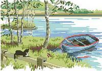 Картина для вышивки нитками размер А4 Кот у реки Ркан 4013