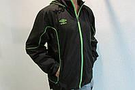 Мужская спортивная куртка Umbro 411114 черная с салатовым код 196б