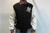 """Мужская осенняя куртка """"MLB"""" чёрная с белым код 203б"""