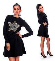 Модный теплый женский черный костюм (юбка + кофта)