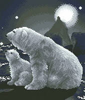 Схема на канве для вышивания крестом Белые медведи Ркан 4101