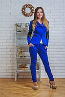 Костюм женский жакет с брюками электрик, фото 1