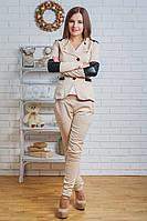 Костюм женский жакет с брюками беж, фото 1