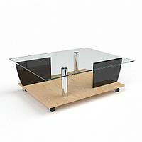Стеклянный журнальный столик на колесиках + ДСП модель Антарес