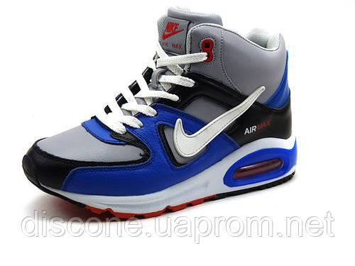 Зимние кроссовки Nike Air Max, унисекс, кожаные, на меху, р. 38