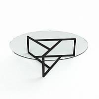 Стеклянный стол журнальный с металлическими ножками модель Глобус