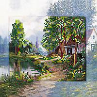"""Схема для вышивания бисером на художественном холсте """"Домик в деревне"""""""