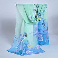 Шелковый голубой шарфик