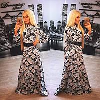 """Красивое женское платье в пол """"Жакард в цветочек"""" 42-60р"""