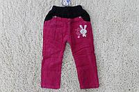 Утепленные вельветовые брюки на флисе  1лет. цвет:малиновый,фиолетовый,розовый