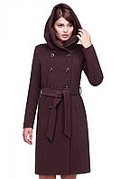 Длинное молодежное пальто с пуговицами под пояс