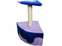 СИЗАЛЬ Когтеточка для кошек ДРП-ДУ1 Угловая будка с лежанкой волна 40*40*65