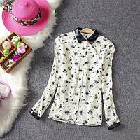 Женская рубашка / блуза с цветочным принтом и кожаным воротником