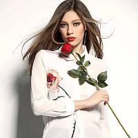Женская шифоновая  рубашка с розой
