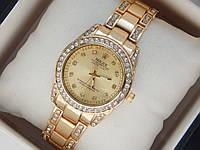 Женские кварцевые наручные часы Rolex на металлическом ремешке со стразами
