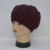 Бардовая женская вязанная шапка на зиму 2016